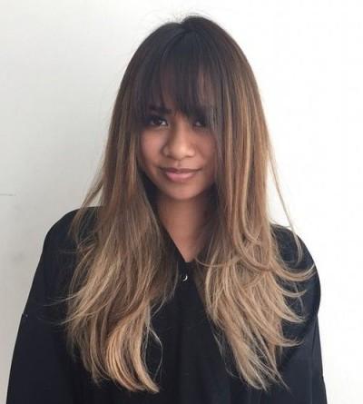 Elegant Long Shag Hairstyles Brunette shag with bangs