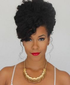 High bouffant african american long hairstyle