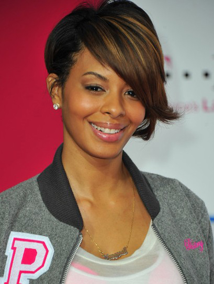 Short cut with side long bang short hairstyle for african american women