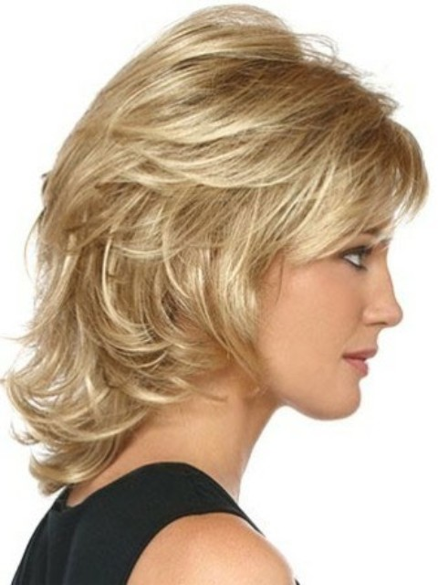 Shoulder length hairstyles Back swept layers