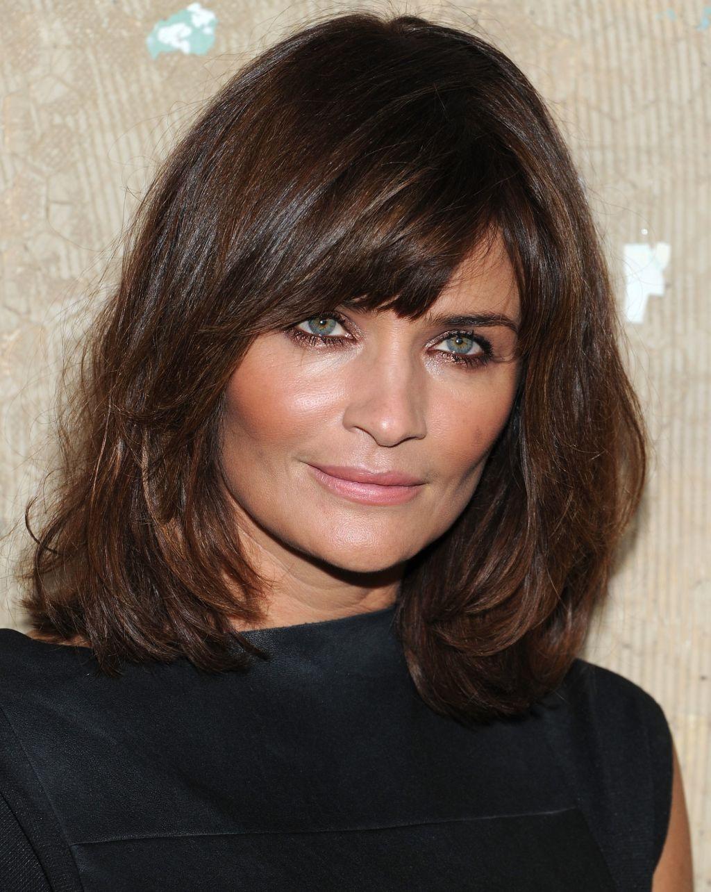 Shoulder length hairstyles Medium length with face framing bangs