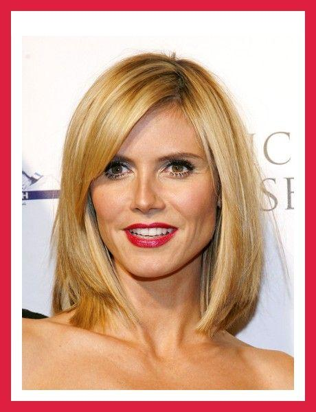 Shoulder length hairstyles Side parted straight layers