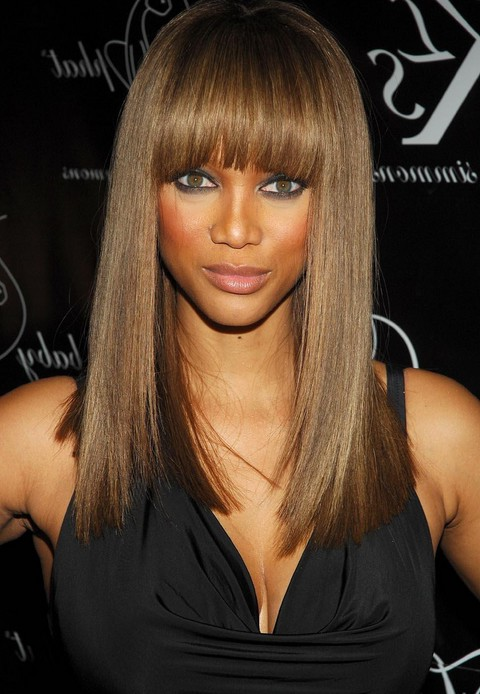 Straight layers with straight bangs american african long hairstyle