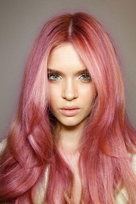 Pastel red on brown hair