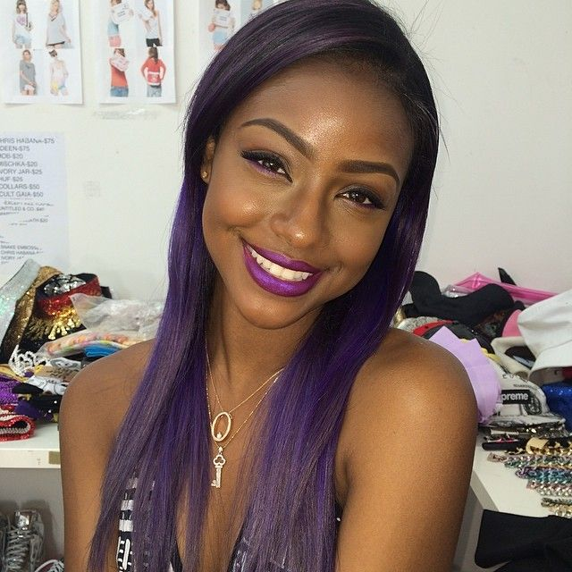african american long hairstyle Colored purple toned long heavy hairstyle