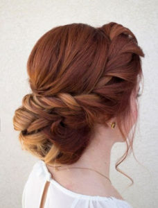 twiswted low knot bun hairstyle