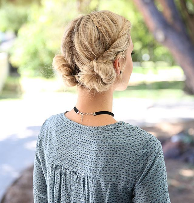 low double bun hairstyle