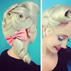 hairstyle-for-women-vintage-curl-with-a-hairbow