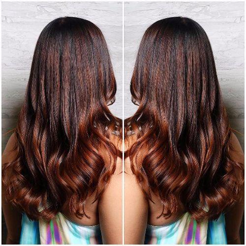 latest balayage hair color ideas Brown bold balayage ombre