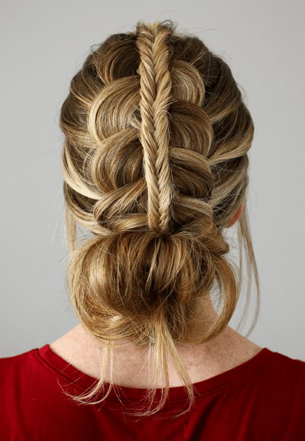 messy bridge bun hairstyle