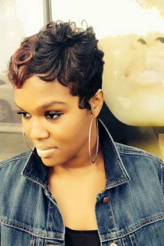 short hairstyle for african american women Short black pixie cut with finger waves