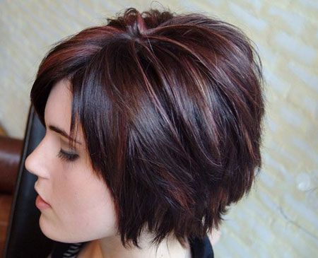 short layered hairstyles Dark black shag hairstyle