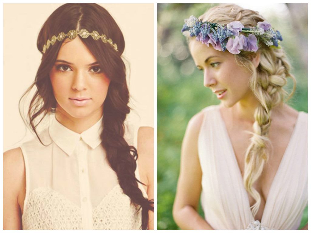 Braided Boho Hairstyles head band with boho braids and waves
