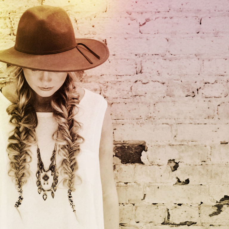 Braided Boho Hairstyles two side pig tail braided pony with a hat