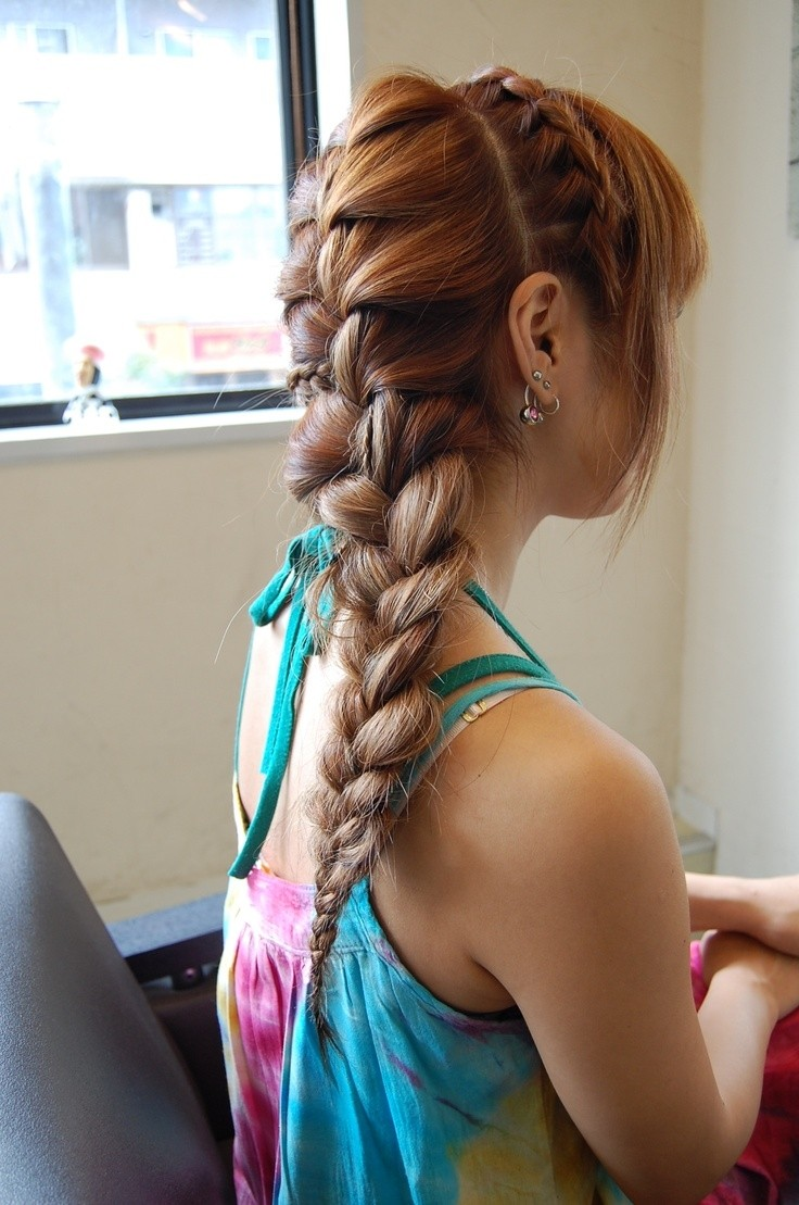Dutch braid hairstyles long duch braid ponytail with bangs