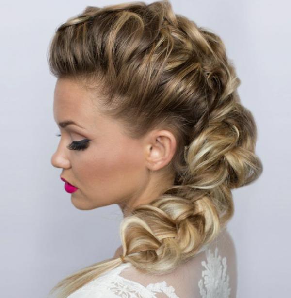 Dutch braid hairstyles puffed up side dutch braid