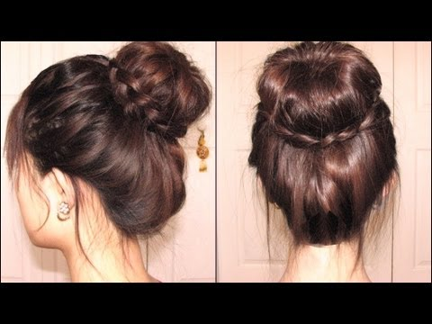 Dutch braid hairstyles twisted bun with dutch braid covering