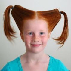 Funny Hairstyles for Girls slanted and rolled two pig tail ony