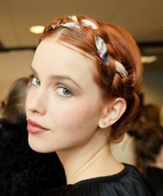 Milkmaid Braid Hairstyles for Women milk maid braid with ribbon