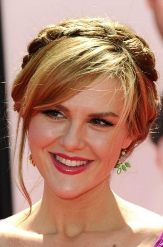 Milkmaid Braid Hairstyles for Women milk maid braid with side swept bangs