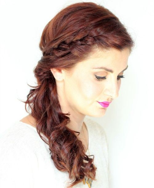Short curly side pony tail with braided bangs