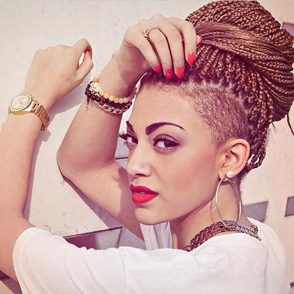 Under Cut Hairstyles for Girls box braid bun with under shaved