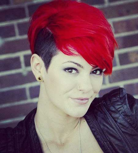 Under Cut Hairstyles for Girls red color pixie with side shaved