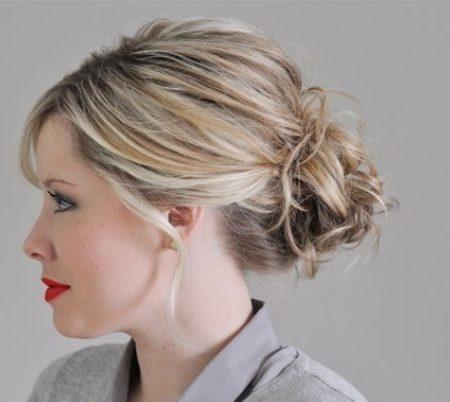 Updo for medium length hair Cinnamon roll updo