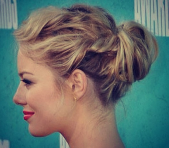 Updo for medium length hair Knotted half updo