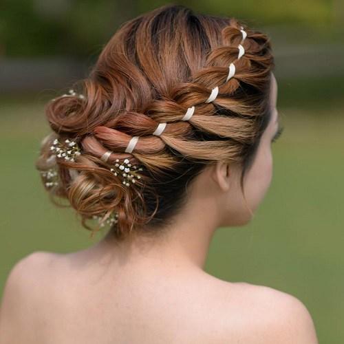 Updo for medium length hair Ribbon braid updo