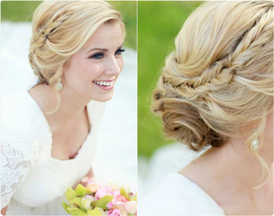 bridal hairstyles updos Braided bun with bangs and head band