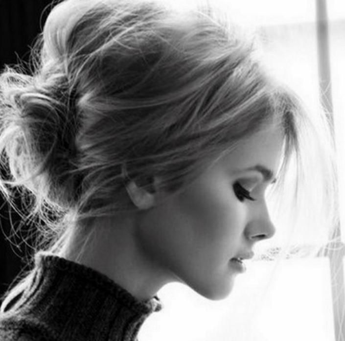 messy updo hairstyles High messy bun updo