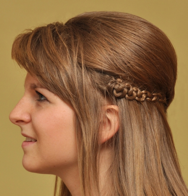 easy hairstyles with braids heavy side bangs with puffed up crown