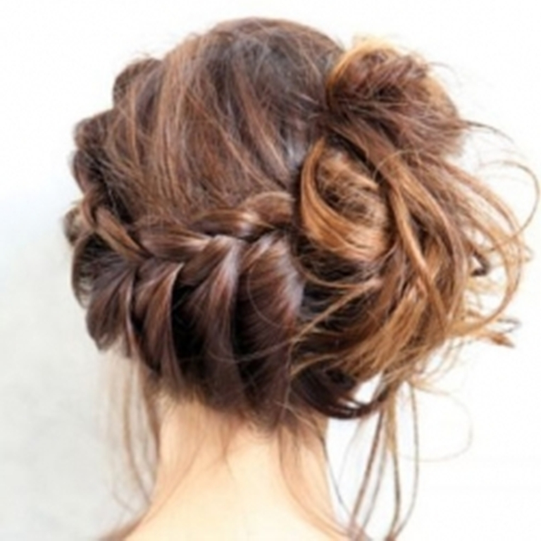 easy hairstyles with braids messy layered hair bun with braided bangs