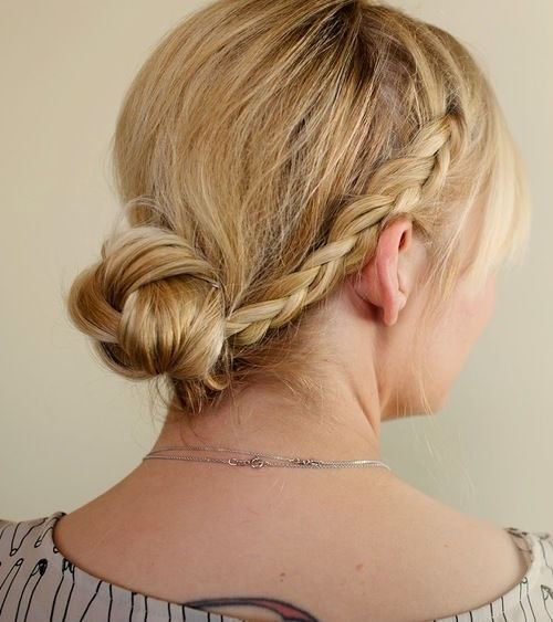 easy hairstyles with braids messy twisted bun with braids