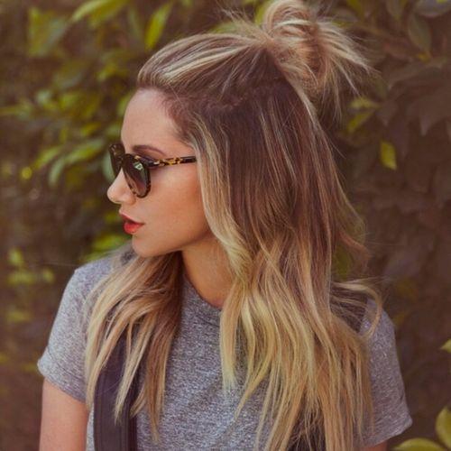 half pony hairstyles Bun with half ponytail