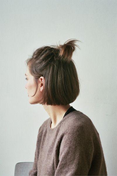 half ponytail Half pony on a bob cut