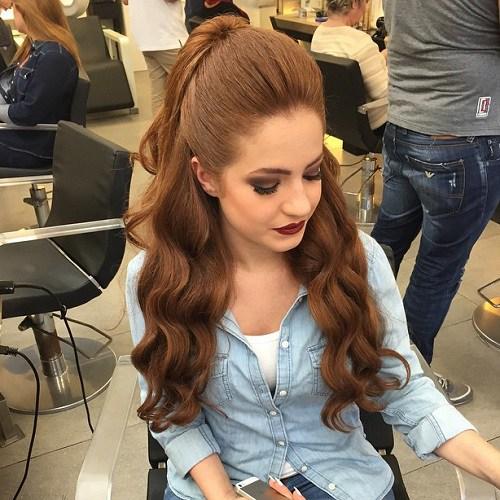 half ponytail High glam waves