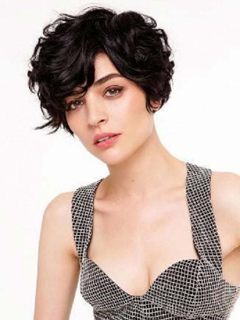 short curly hairstyle with bangs Short smoky black with bangs