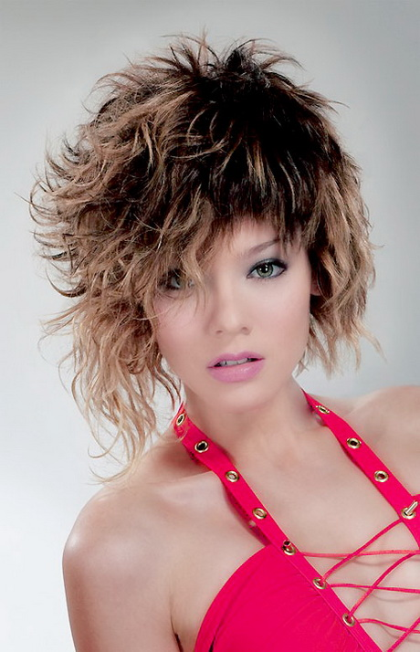 short curly hairstyle with bangs Short wild