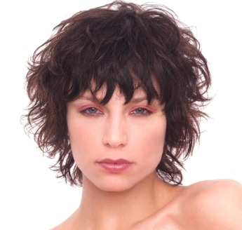 short curly hairstyle with bangs Short wispy cut with bangs