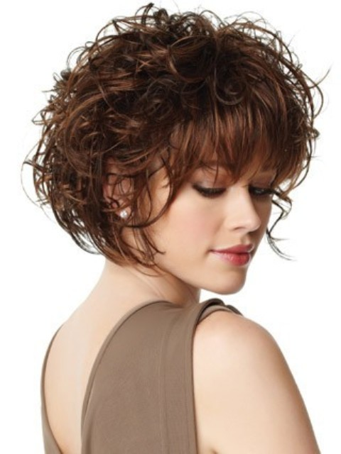 short curly hairstyle with bangs Straight bangs with short curls