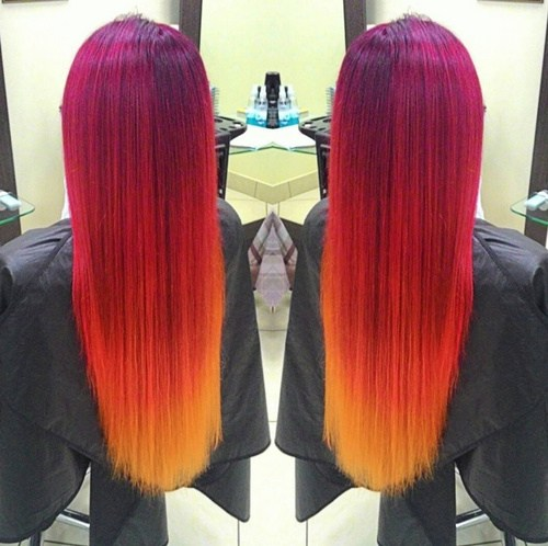 vibrant shades of red hair color Sweet sunset
