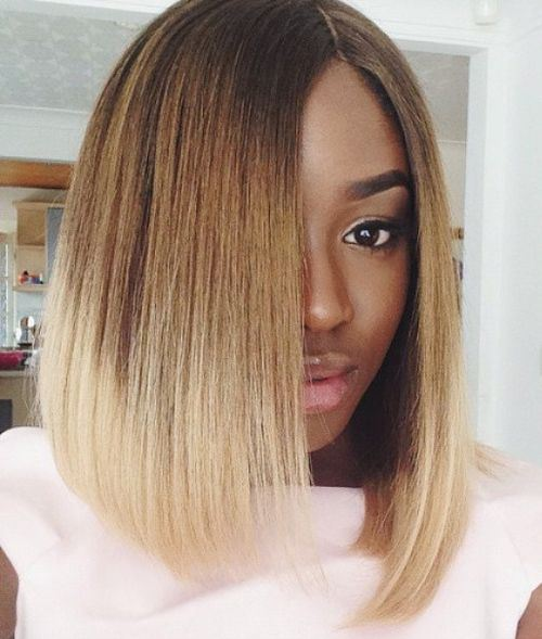 Bob haircut for black women Straight hair with color accent