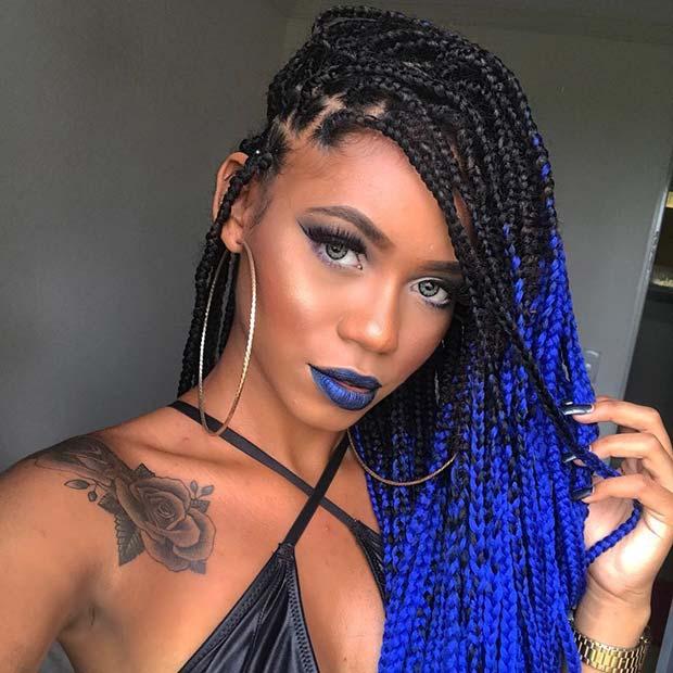 bold blue braids
