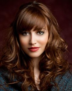 Long Hairstyles for Women in there 20 Crispy curls and straight bangs