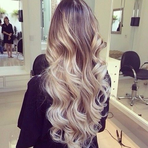 Ombre Hair Color Blonde Ash with ombre on long hair