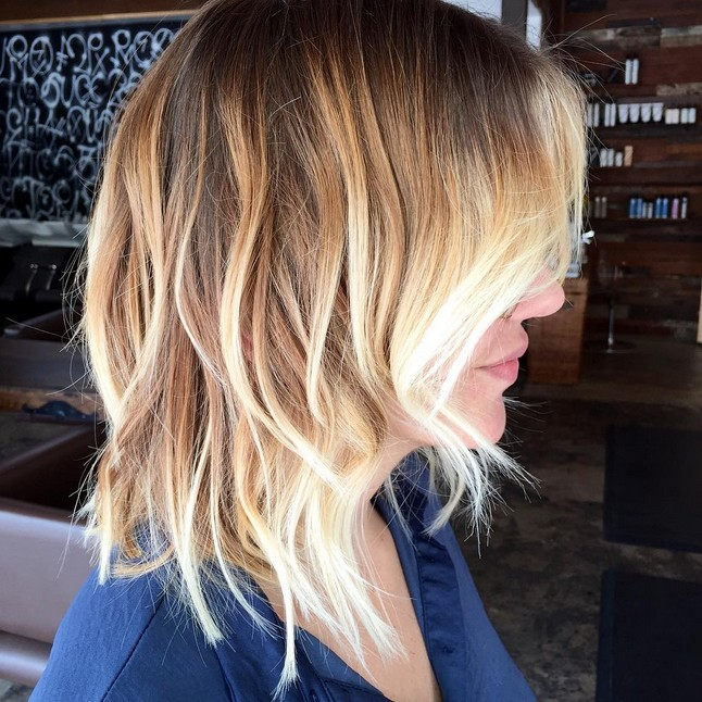 Ombre Hair Color Feathered bob with ombre