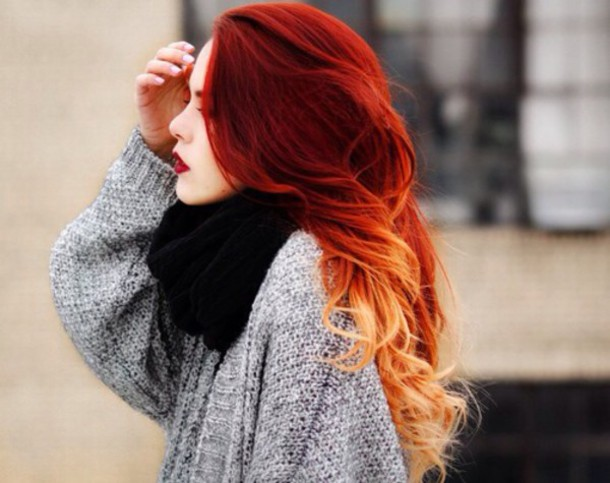 Ombre Hair Color Fiery ombre