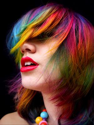 Rainbow hair color ideas bangs